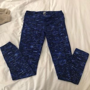 Blue full length athletic leggings